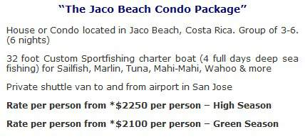 costa rica fishing vacations packages